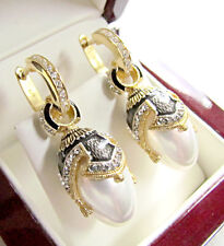 FASCINATING ENAMELED EARRINGS MADE OF STERLING SILVER 925 & 24K GOLD WHITE PEARL