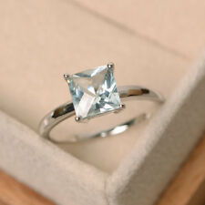 14K White Gold Rings 1.50 Ct Princes Cut Natural Aquamarine Wedding Ring Size N