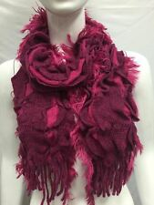 KNITTED RUFFLED WITH FUR WARM WINTER SCARF THICK BULKY COLOR PINK