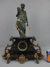grande pendule marbre et bronze XIXe Domange-Rollin masque théâtre grec antique