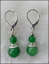 Genuine Green Chinese Jade Bead Dangle Tibetan Silver Earrings, Pierced