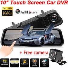 10'' Dual  LensCar DVR Mirror 1080P Dash Cam Recorder G-Sensor Rear View Camera