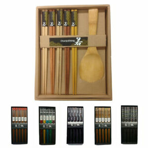 JapanBargain Brand 5 Pair Reusable Wooden Chopsticks Gift Box Set