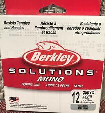 Berkley Solutions Mono Fishing Line 250 Yd 12 Lb Green Mist Resists Tangles