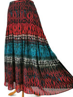 Per Una M&S Womens Size 16 Blue Red Black Multi Abstract Gypsy Style Long Skirt