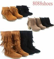 Women's Round Toe Fringe Flat Wedge High Heel Mid Calf Ankle Boots Size 6 - 11