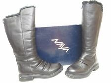 NWB NAYA RAPTOR WIDE BLACK LEATHER FUR LINED TALL BOOT SIZE 6M MSRP $249