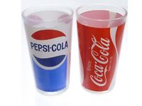 "2 Vintage 1970s Logo Pepsi & Coca Cola Drinking Glass 5"" tall"