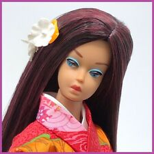 New ListingVintage Barbie Fashion Queen - Kimono and Long Burgundy Brunette Wig