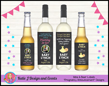 ** BABY SHOWER PREGNANCY ANNOUNCEMENT WINE BOTTLE LABELS GIFTS PRESENTS **
