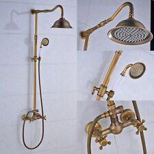 Antique Brass Shower Faucet Dual Handles Valve Mixer Tap Hand Shower Wall Mount