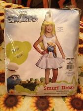 The Smurfs Girl Smurfette Child Dress Halloween Costume 12-14 New + Bonus Smurf