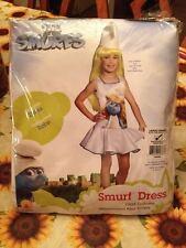 The Smurfs Girl Smurfette Child Dress Costume 12-14 New + Bonus Smurf & Necklace