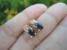 Sterling Silver 18K Gold VICTORIA TOWNSEND 1.5g Sapphire & Diamond Stud Earrings