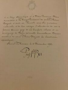 Pope Pius XI Signed letter