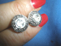 STUNNING ANTIQUE GENUINE 2 CT OLD ROSE CUT DIAMOND STUD 14K EARRINGS