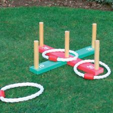 Kingfisher Wooden Garden Indoor Outdoor Quoits Family Pegs And Rope Hoopla Game