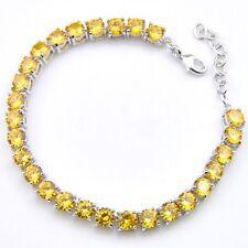 Wedding Gift Round Cut Shiny Golden Citrine Gemstone Silver Charming Bracelets