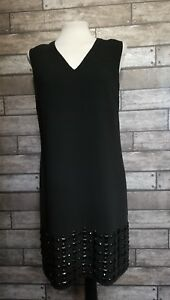 Ladies Next Size 10 Black Shift Dress Shiny Beads Party Occasion LBD