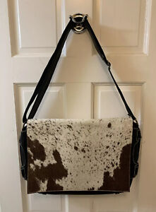 Natural Cowhide Leather Briefcase Laptop Messenger Bag Black Custom Hide New