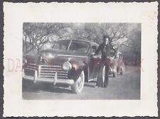 Vintage Car Photo Navy Sailor Man w/ 1941 Chrysler Automobile 666240