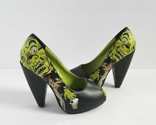 T.U.K. Zombie Girl Heels 5 36 Black Green Pinup Rocker Shoes Pumps Sexy Goth