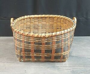 Antique Large Oval Top Woven Primitive Basket Red and Blue - New England Estate
