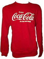 NEW MENS LADIES OFFICIAL COCA COLA CLASSIC ITS THE REAL THING SWEATSHIRT RED S-L