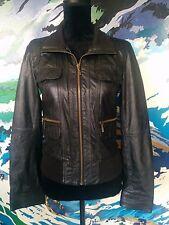 ZARA TRF- 100% Genuine Leather Jacket - Motorbike Motorcycle Black Zip - S/10/12
