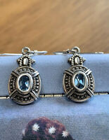 Vintage Sterling Silver Earrings With Blue Topaz
