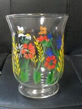 Glass Votive Candle Vase ~ Blue Flowers Bumble Bee Sand Hand Painted