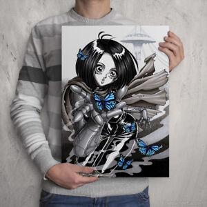 ALITA - Signed Colour Print - GUNNM Fan Artwork - by manga / anime artist Poster