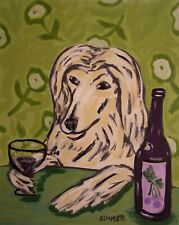 Wine art of afghan hound dog 4x6 modern poster gift folk art Glossy Print
