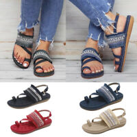 Womens Bohemian Slip On Slingback Sandals Toe Ring Flat Casual Shoes Size 6-9
