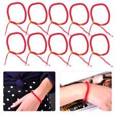 10 un. Pulsera de cadena hecha a mano Lucky Rojo Chino Con Cuentas Cuerda Trenzada Ajustable