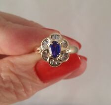 14K YG Genuine Baguette Diamond & Lab Sapphire Ring Gorgeous! FREE SIZING!