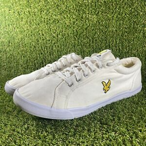 Men's Lyle And Scott Cream White Canvas Trainers Sneakers Pumps - Size UK 9