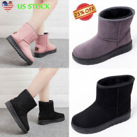Women's Winter Warm Ankle Snow Boots Fur Lined Slip On Low Heel Booties Shoes US