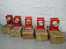 More details for british army - military - mod - vintage fire alarm with wooden storage box