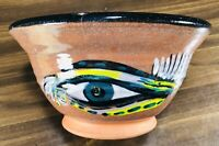 "VTG Redware Feathered Green Eye 8"" Bowl Studio Art Pottery Signed D Sain Burns"
