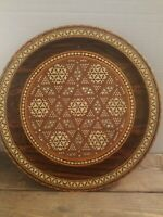 "Vintage Wood Platter Detailed Mother of Pearl Inlay 15"" Serving Tray Wall Decor"