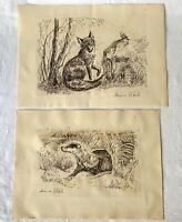 2 Vintage Signed Ink Pen Paper Countryside Art Drawings: Badger in Set + Fox