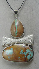BEADED PARROT DOUBLE BOWTIE BOULDER TURQUOISE AND .925 STERLING SILVER PENDANT