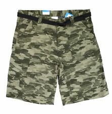 Columbia Mens Shorts Green Size 36 Camo Print Belted Omni-Shield $50 #076