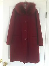 Madeline Wool Coat with Fur Collar in Red; Petite Size 8; Pre-Owned