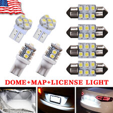 8x White LED Bulb For Car Map Dome License Plate Light Interior Package Kit Deal