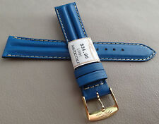 ZRC France Padded Blue Water Resistant 18mm Watch Band Gold Tone Buckle $34.95