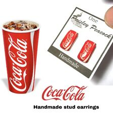 Soda Collectors Jewelry Handmade Coca Cola Earrings Can
