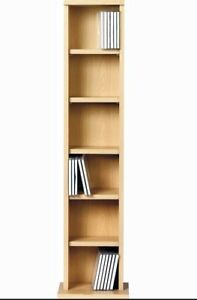 OAK EFFECT CD DVD MEDIA STORAGE SHELVES RACK WOODEN SHELF TOWER STAND UNIT
