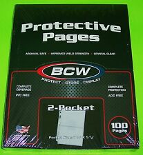 100 PRO 2-POCKET ALBUM PAGES FOR COVERS, PHOTOS, POSTCARDS, COUPONS, ETC. BY BCW